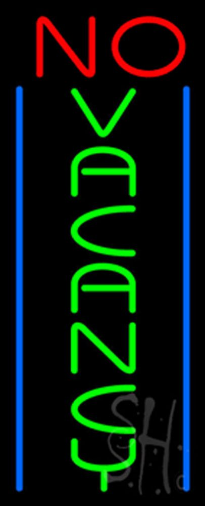 Vertical No Vacancy Neon Sign 32 Tall x 13 Wide x 3 Deep, is 100% Handcrafted with Real Glass Tube Neon Sign. !!! Made in USA !!!  Colors on the sign are Red, Green and Blue. Vertical No Vacancy Neon Sign is high impact, eye catching, real glass tube neon sign. This characteristic glow can attract customers like nothing else, virtually burning your identity into the minds of potential and future customers.
