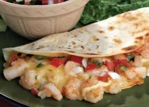 Receta de Tacos de camarón con jalapeño, queso y cilantro.
