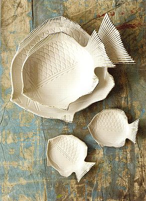 Tozai Home Fish Plates: Tozai Home Turbot Fish Plates. Fish motifs have embellished home and tabletop products for centuries. The fins and scale textures are carved beautifully into these ceramic dishes. They are perfect to serve with but also make wonderful wall decor. The large plate is 1 3/4
