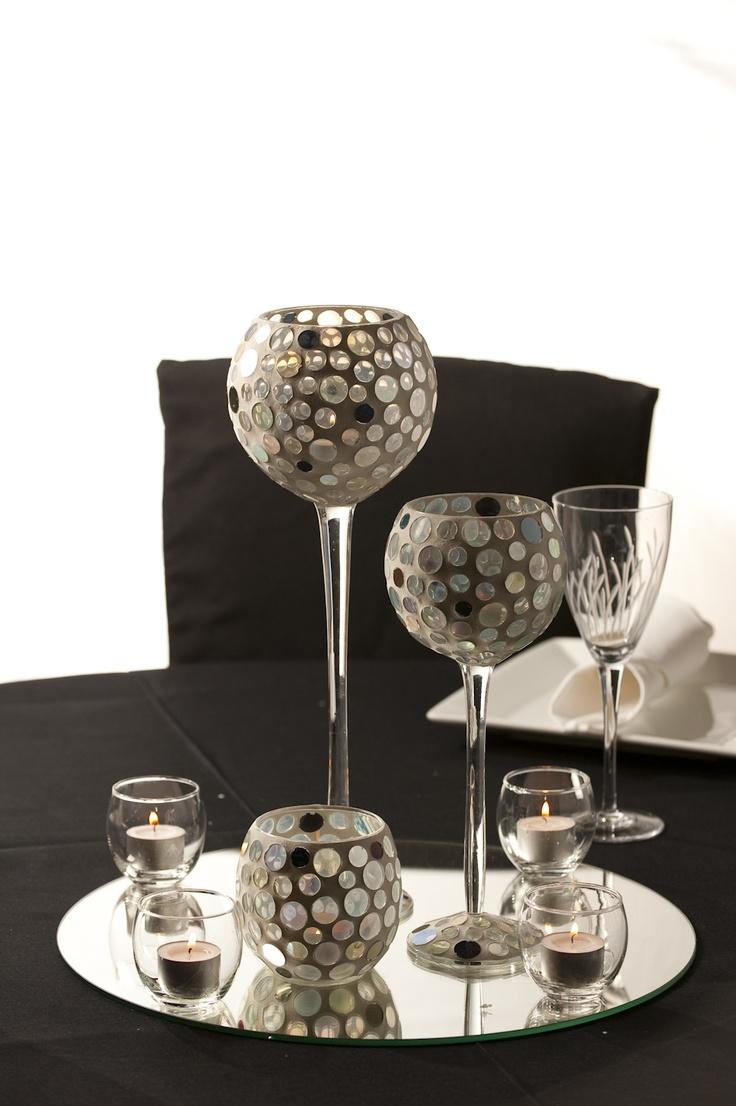 Wedding table centerpiece trio glass goblet centerpiece for Glass wedding centerpieces