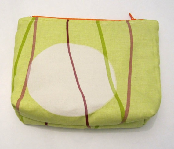 Bottom Flat Makeup bag Acid green cotton fabric Big by ShopF4m, $15.00