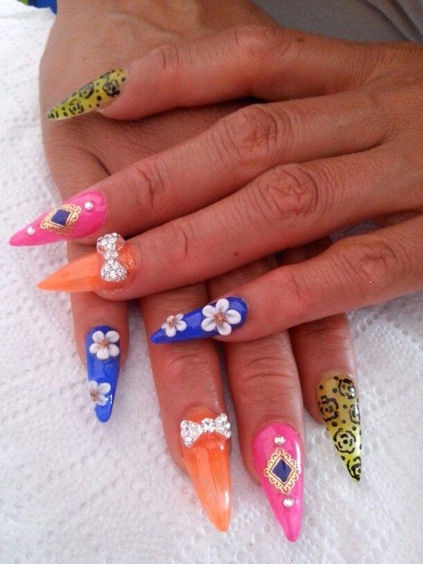 Stiletto nails, #stiletto. Uñas en pico