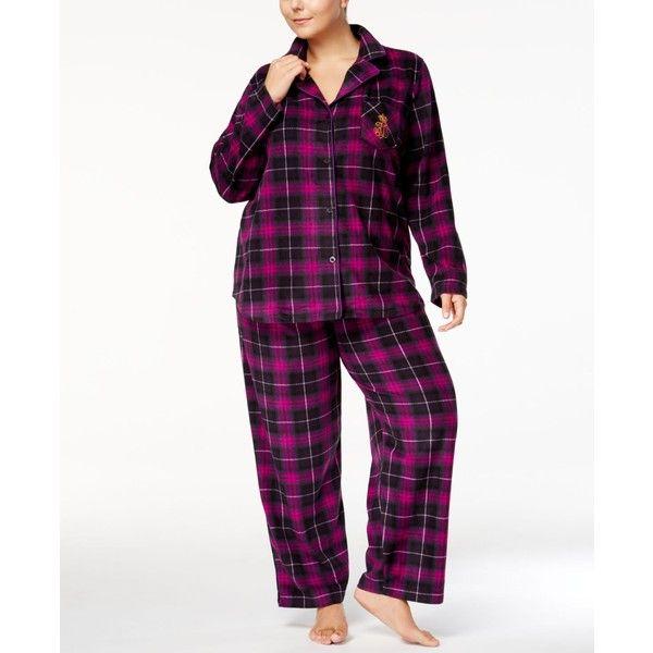 Lauren Ralph Lauren Plus Size Printed Pajama Set ($40) ❤ liked on Polyvore featuring plus size women's fashion, plus size clothing, plus size intimates, plus size sleepwear, plus size pajamas, purple, purple pajamas, fleece pajamas, plus size pyjamas and women's plus size pajama sets