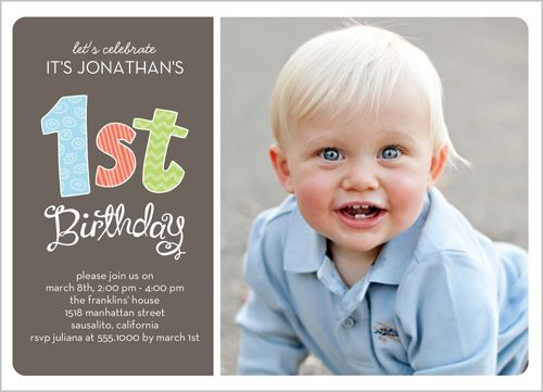 Patterned First Boy Birthday Invitation Birthday Party