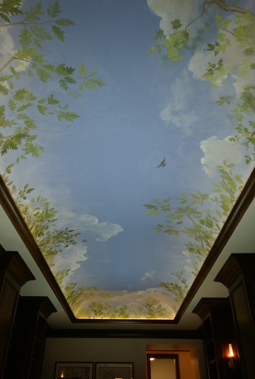 I love this cloud ceiling -it looks like you are looking up through the trees at the sky.