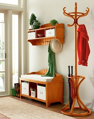 """Ashton Bench & Wall Storage Shelf with Baskets  $300       23 reviews write a review  Ashton provides stylish storage for entryways and hallways.      Pine/engineered wood. Assembly required.     Bench set includes:  wall shelf with 2 canvas storage baskets  bench with cushions  2 canvas storage baskets  Wall shelf measures 41¾x9x18¼""""H; bench measures 39¼x14¾x2""""."""