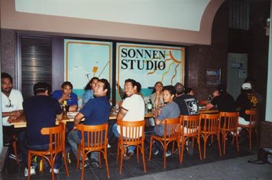 Te Vaka members enjoy a meal with WDR Radio in Bonn, Germany
