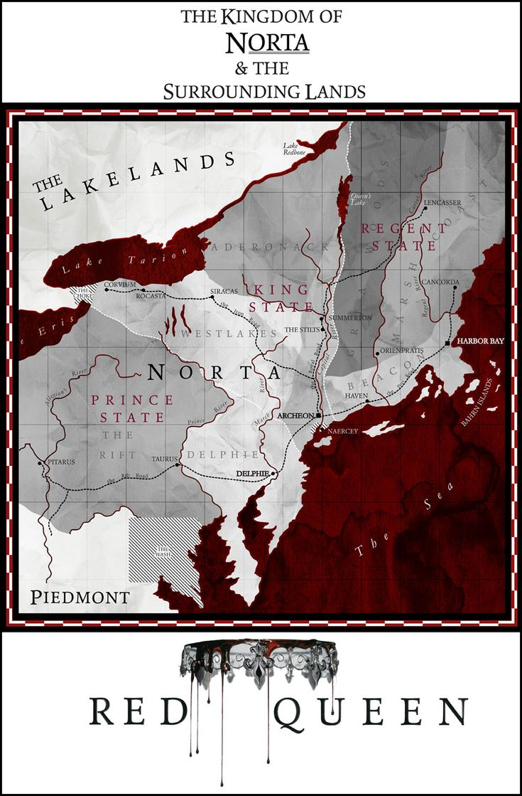The map of the Kingdom of Norta in RED QUEEN by Victoria Aveyard