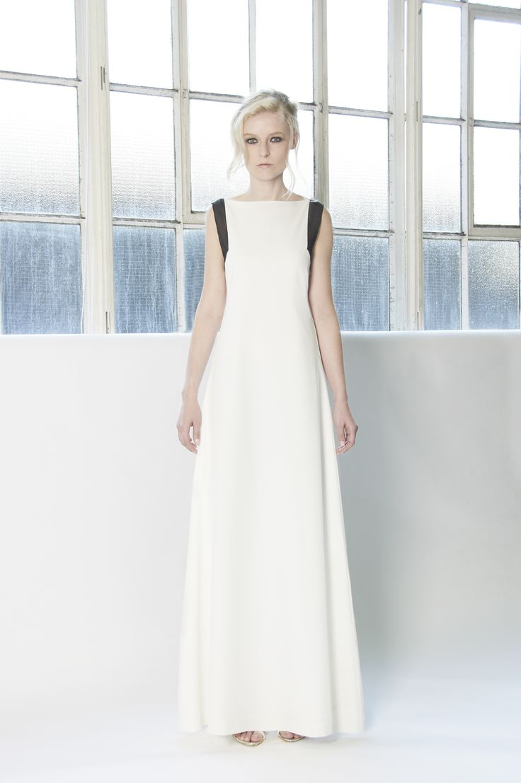 BELLA Floor length open back dress with contrast arm and back seams. Slim fitted ankle length pants in black. http://www.lui-s.co/ #MakersAndDoers #inspiration #fashion