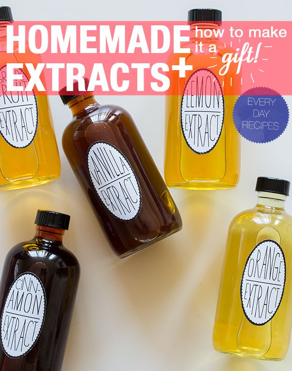 5 DIY extracts: vanilla, cinnamon, lemon, orange & grapefruit. (Simple recipes for each, plus packaging ideas for giving them as gifts)