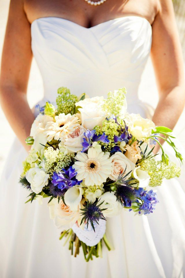Hand Tied Bouquet In Blush Light Green And Blue Of PeeGee Hydrangea Delphinium Floral BouquetsWhite Bridal