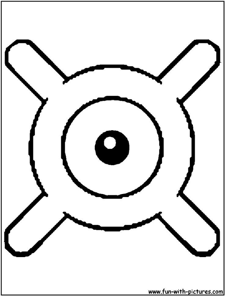 Unown X Coloring Page