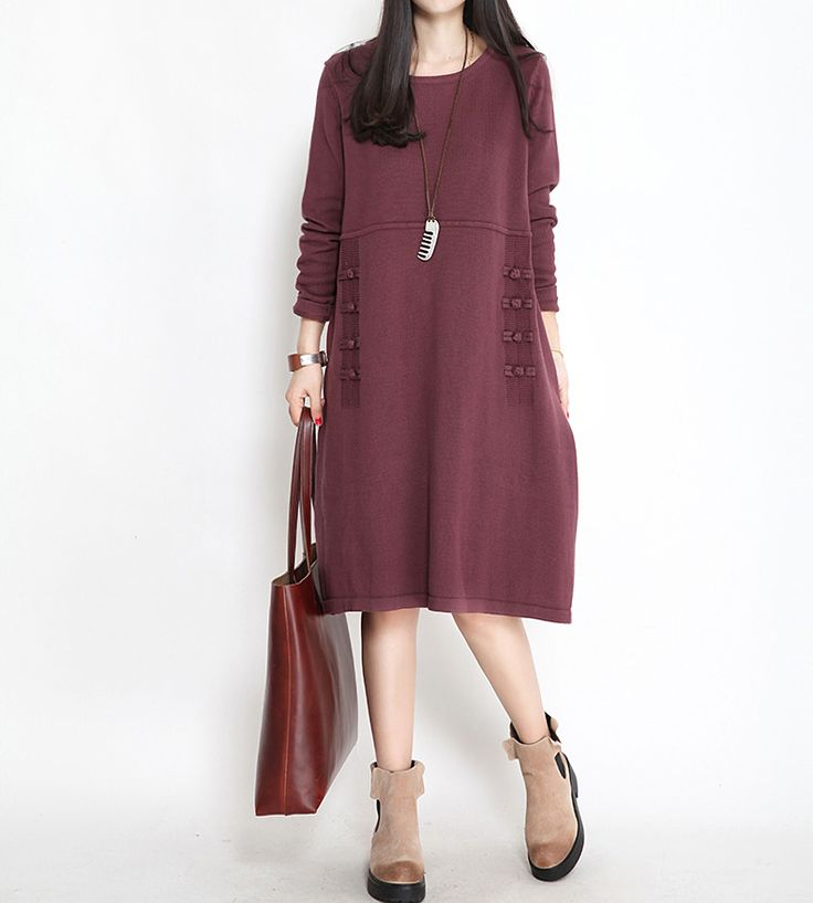 Green/Purple/Blue Casual loose cotton Knitted Long Sleeve Sweater Dresses Women Tops Q1902A