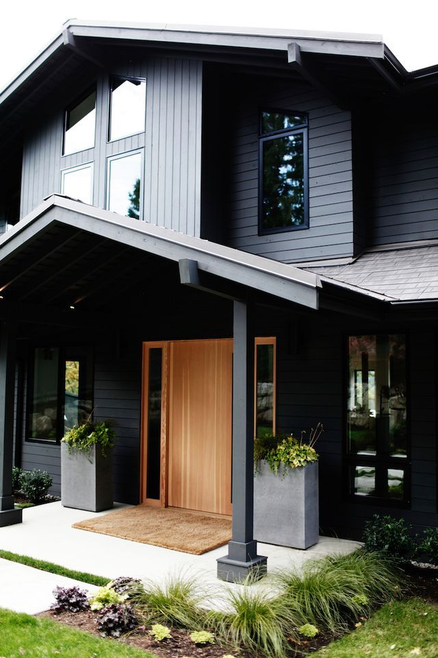 Love the exterior paint color - Sherwin Williams Iron Ore | via Bloglovin'