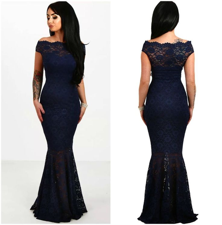 AU New Women's Off shoulder Lace Overlay BLUE Evening Formal Maxi Dress SZ 8-16  | eBay