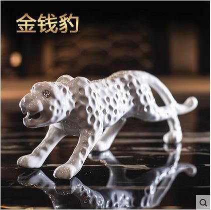 ceramic Leopard home decor crafts room decoration ceramic kawaii ornament porcelain figurine animal Panthera pardus decoration