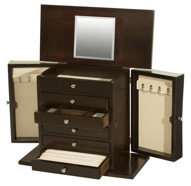 amish hardwood caledonia six drawer jewelry chest