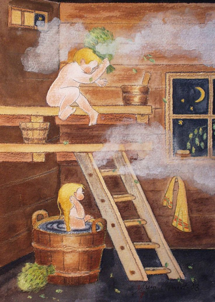 Sauna. By Mirja Clement.  Top bench is for the brave of heart....tub on the floor is for our children.