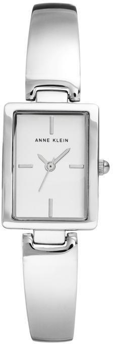 Anne Klein Silvertone White Tank Dial Bracelet Watch