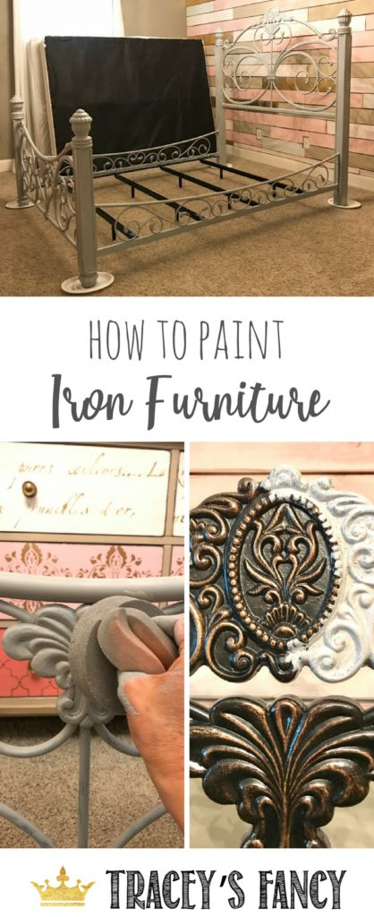 How to Paint Iron Furniture _ Painted Bed Tracey's Fancy   Girls Bedroom Makeovers   Bed Makeovers   Painted Headboards