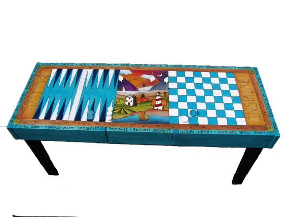 GAMES TABLE  Custom made Games Table  42 L. x 15w by woodwithheart