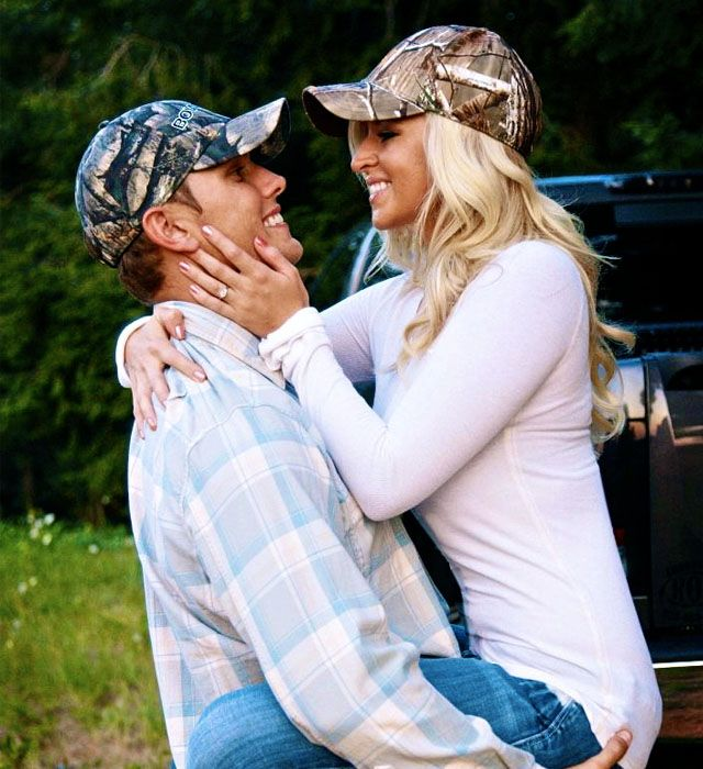 these are cute engagement pictures! Sorry Micah we have to do a few redneck ones... :)