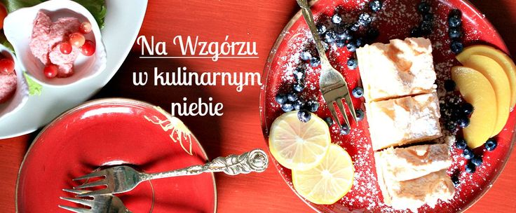 """Gościniec Na Wzgórzu, great place in Poland, Stare Juchy (Masurian District, the Poviat of Ełk) with slow food & slow life. north-eastern part of Poland, the cleanest region of the country """"The Green Lungs of Poland"""". Ecological City.  #cheesecake, #red #table, #berries, #powdered #sugar, #lemon, #peach, #red #plate, #forks, #dessert, #cranberry"""