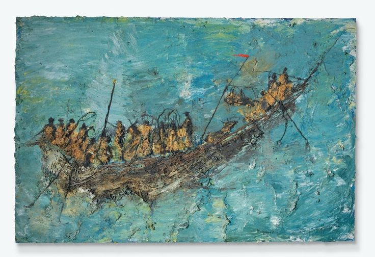 Miquel Barceló (b. 1957), Pinassi, signed, titled and dated 'PINASSI Barceló VII.91' (on the reverse), mixed media on canvas, 78 x 117 3/8in. (198 x 298.2cm.). Executed in July 1991.