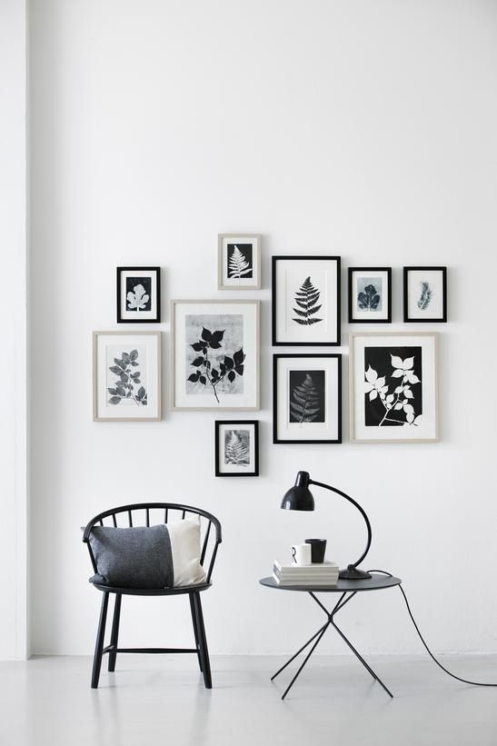 Create instant cohesion in a gallery wall by grouping similar pieces or the same style of framing.