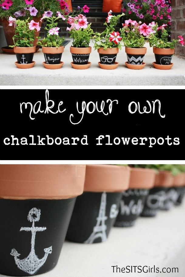 Use these chalkboard flowerpots to decorate the garden for your Mothers Day tea party, and then send one home with all the guests. They also make a great Mothers Day table setting! | MomsDay