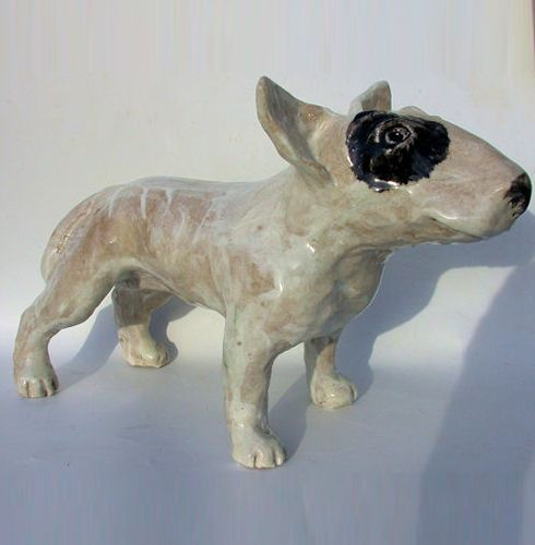 Standing Ceramic English Bull Terrier Dog Sculpture