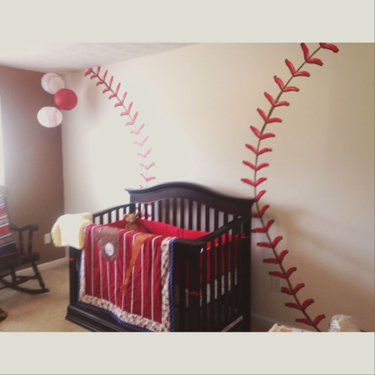 Baseball theme nursery painting