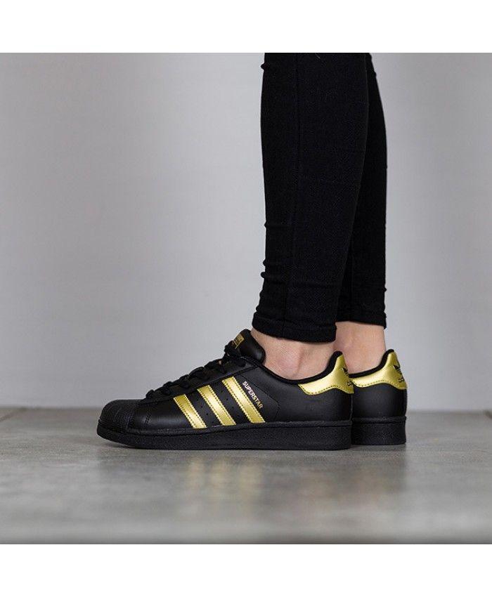 Adidas Superstar Junior Black Gold Metallic Trainers