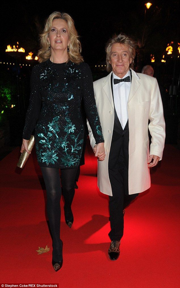 Date night: Penny Lancaster and Rod Stewart went hand-in-hand as they arrived at the Emeralds and Ivy Ball in London on Saturday night