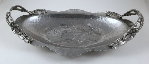 Hand Wrought Metal Serving Tray Vintage Tulip Bread Tray