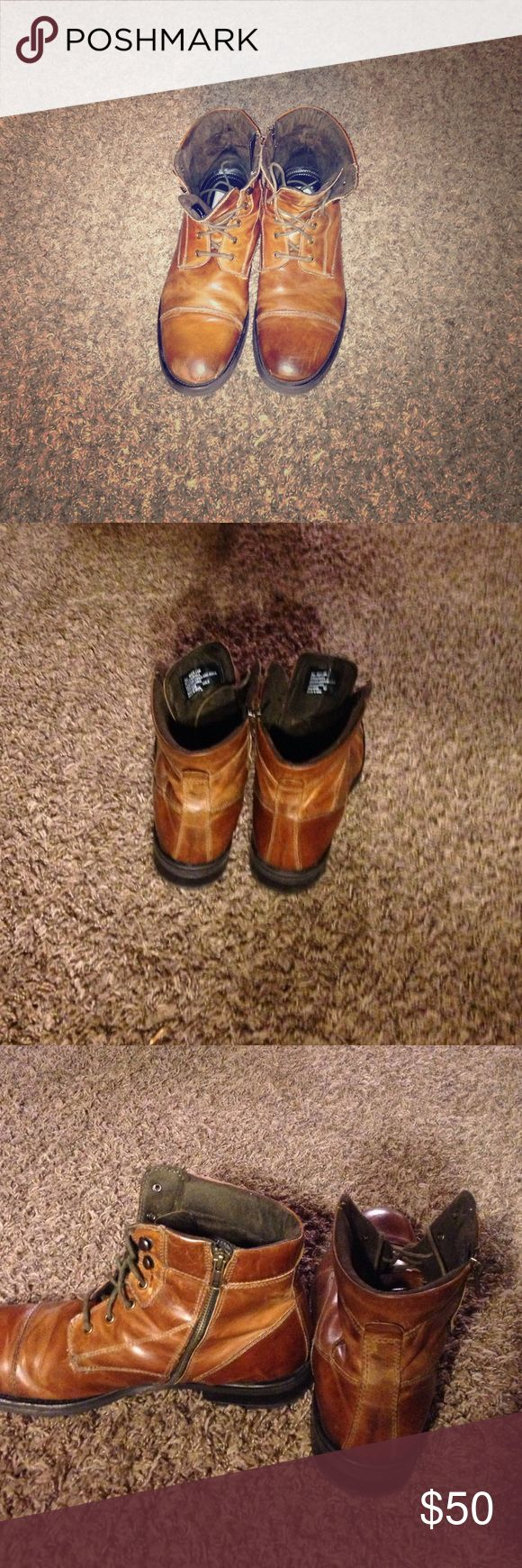 Men's brown boots Men's brown boots zip up on the side and lac up in the front size 13 $60 or best offer GBX Shoes Boots
