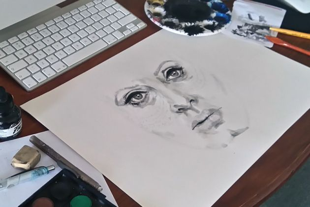 Adele painting work in progress by Amy Slatem
