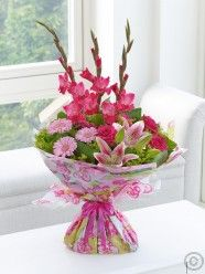 Happy Birthday Pink Summer Hand-tied