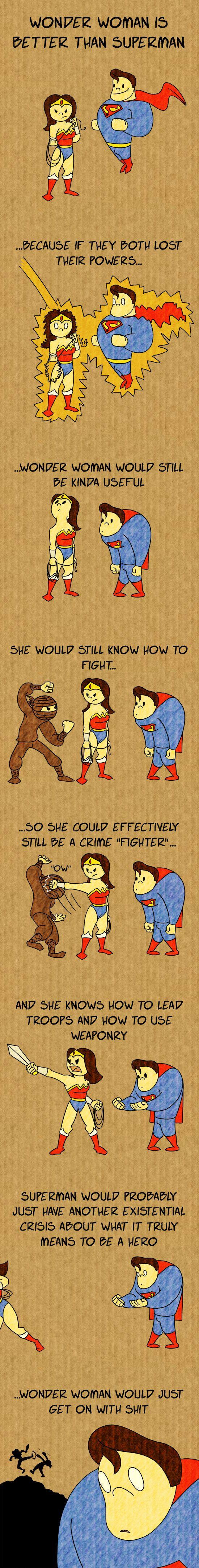 Wonder Woman is better than Super Man by ~spaced-brain on deviantART