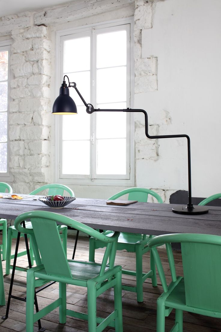 No317 | lampegras.fr | Black Metal | Vintage Industrial Lighting | Green Chairs | Warehouse Conversion | White | Loft Living | Warehouse Home Design Magazine