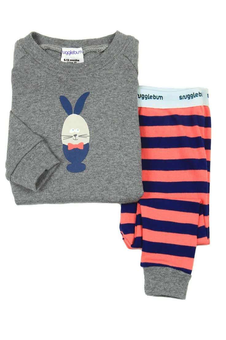 Snugglebum Boy's Eddie Egg Striped Longjohn Pyjamas