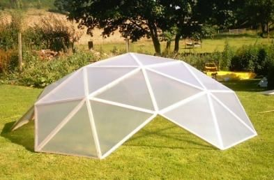 Low cost geodesic dome greenhouse kit