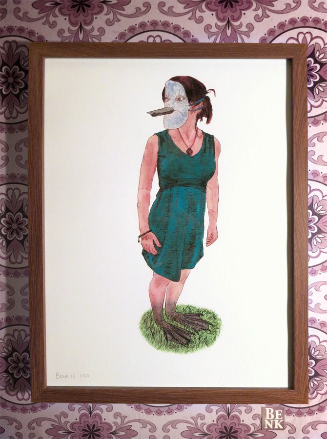 This is a Signed and Framed Limited Edition Illustration Print with an Edition of Twenty.  Artist: Benk Title: 'Masks: Comfortable and Grounded' Size: 33cm x 43cm  You too can feel Comfortable and Grounded as you feel the soft grass against your bare feet, or bird feet... your _____ feet.