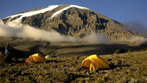 Camping on the way up to the top of Kilimanjaro #tents #mountain #trekking #kilroy