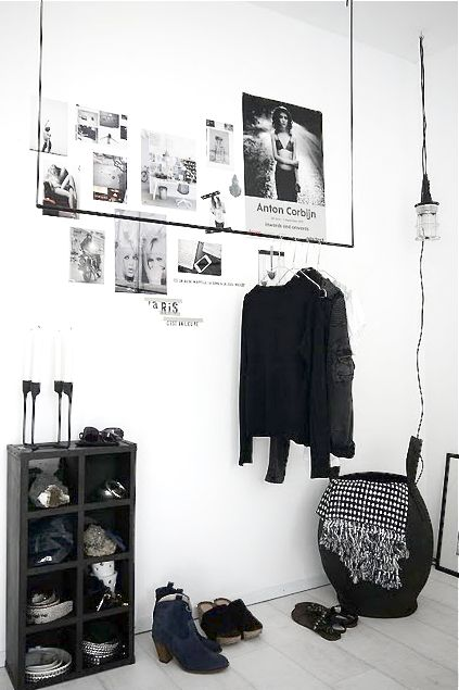 suspended clothes rack