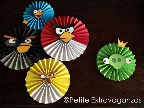 Angry Birds Party Decor Large Paper Rosettes/ Fans