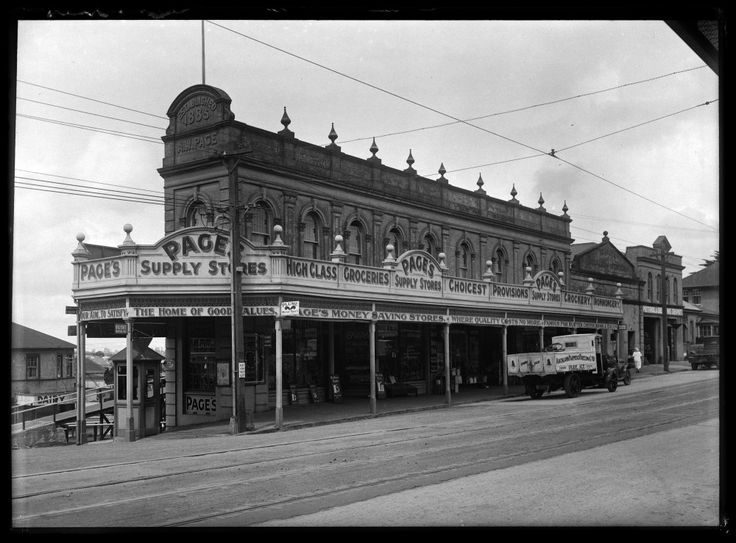 Showing the front view of Pages Store on the corner of New North Road and Sandringham Road (formerly Edendale Road)