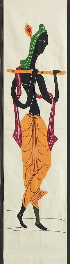 Appliqued Krishna on Cotton Cloth - (Wall Hanging) (Applique Work on  Cotton Cloth)