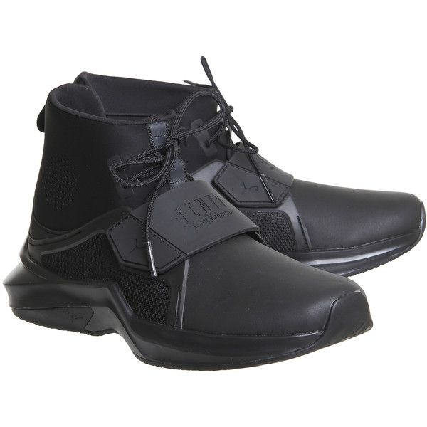 Puma Fenty Trainers Puma Black ($180) ❤ liked on Polyvore featuring shoes, sneakers, puma footwear, kohl shoes, black trainers, puma sneakers and black shoes