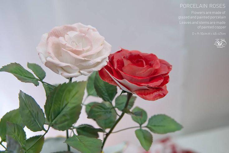 445 отметок «Нравится», 19 комментариев — Porcelain flowers. Ceramics. (@anri.irene_porcelain.art) в Instagram: «Porcelain roses, fragment. Glazed porcelain flowers. Painted copper leaves and stem. #porcelain…»